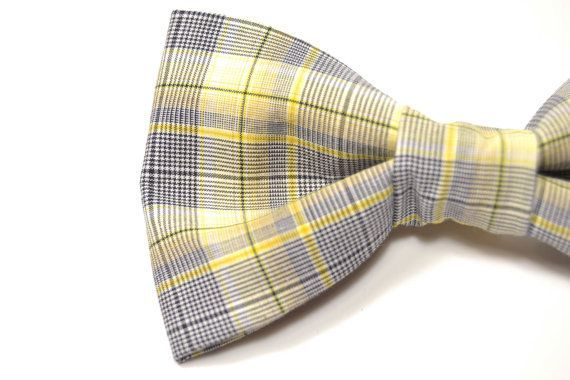 Mens Clip-On Bow Tie Wedding grey yellow plaid by speaklouder