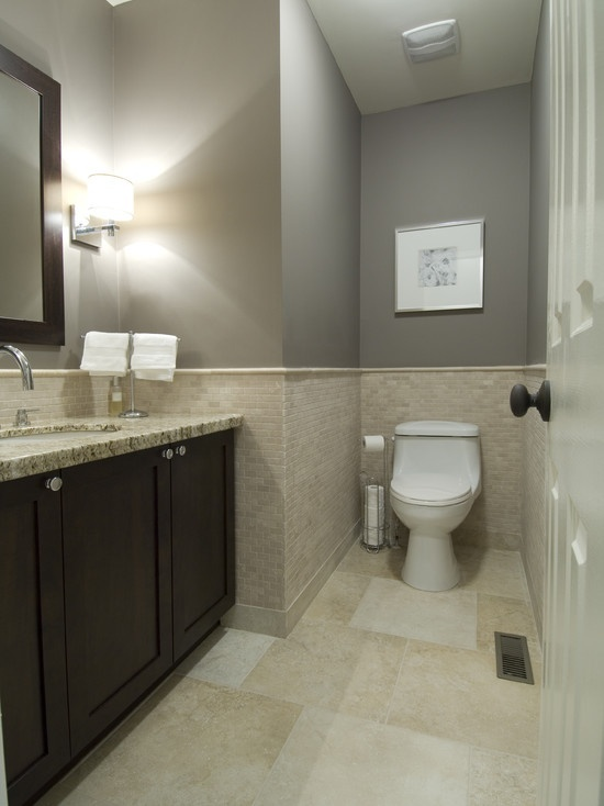 Tiled wall behind toilet bathrooms everything else for Grey bathroom decorating ideas
