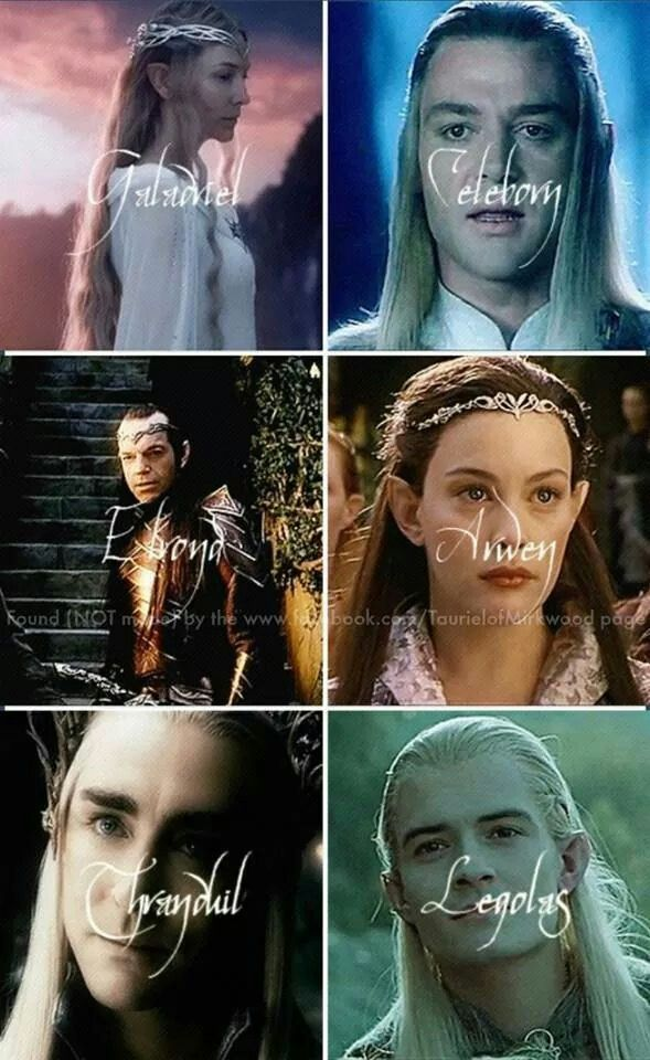 LOTR / The Hobbit. The top is Galandriel and her husband Celeborn who live in Lothlorien. Their daughter married Elrond. Arwen is Elrond's daughter. Rivendell is their home. The bottom tier are the Mirkwood elves. Left is the Elvenking Thranduil and his son Legolas.<-- I have to say that I like the Mirkwood elves better...