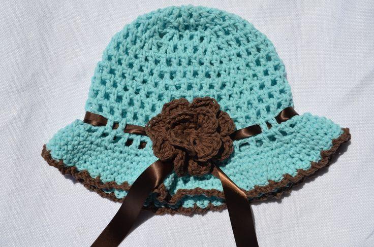 Crochet Sun Hat, Baby Girl Sun Hat, Crochet Girls Sun Hat in Mint and Brown, Cotton Handmade Sun Hat by FuzzyStitchesCrochet on Etsy
