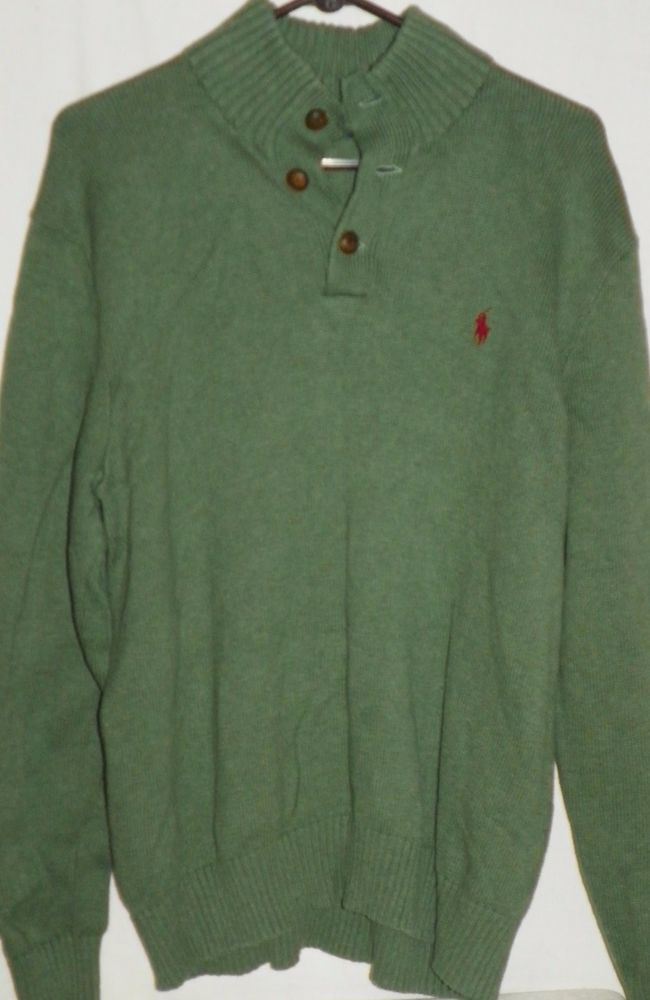 6a893fbce99903 Polo Ralph Lauren Green Mock Turtleneck Button Knit Sweater Pullover Mens XL   PoloRalphLauren  MockTurtleneck