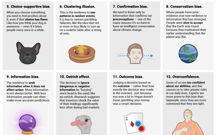 20 Cognitive Biases That Largely Affect Your Everyday Decisions. Psychological obstructions, called cognitive biases, are illogical judgments we as humans tend to make. Information bias, for example, is a cognitive bias that causes us to search for more information even if it's not important.