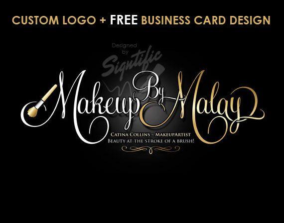 Makeup artistry logo, FREE business card design, gold and white logo, beauty shop logo, unique logo, business logo, beautician logo