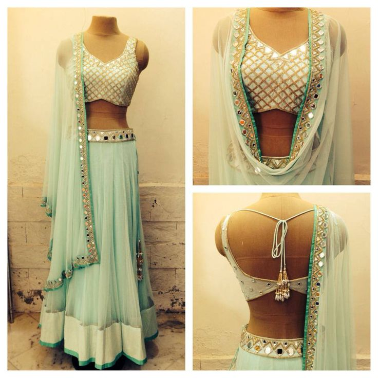 Ice Blue #Saree With Mirror Work And Salli Embroidery.