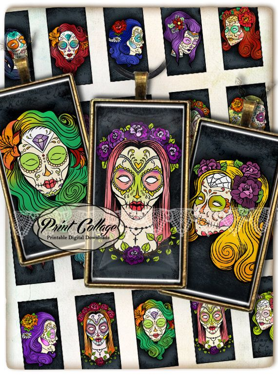 Domino Pendants Printable images  Digital Collage Sheet 1 x 2 inches Jewelry Backgrounds Clip Art Sugar Skulls c29 by printcollage. Explore more products on http://printcollage.etsy.com