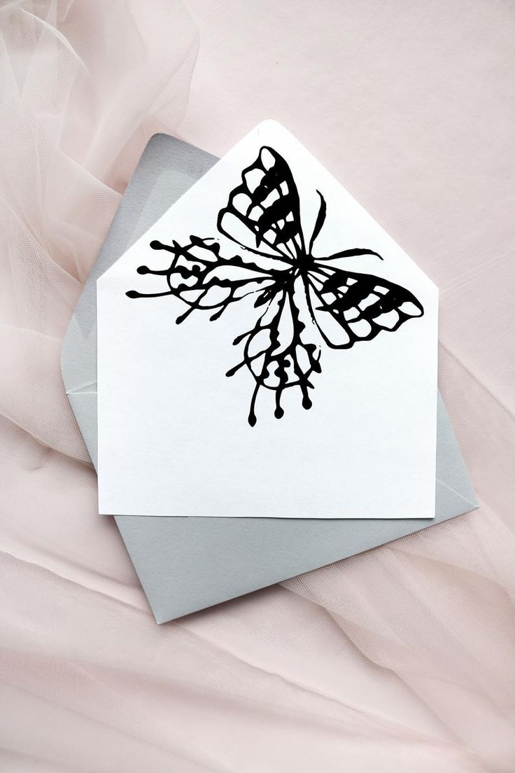 Download Butterfly Wedding Envelope Liner Template, Black & White ...