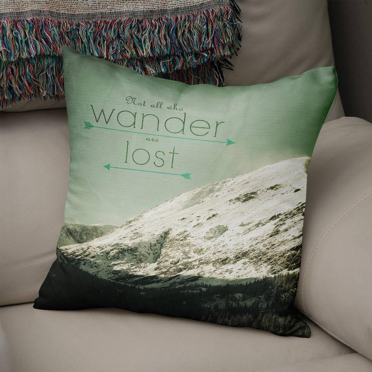 Not All Who Wander Are Lost, Quote Throw Pillow, Wanderlust Pillow Cover, Modern Pillow Cover, Snowy Mountain Peak, Rocky Mountain Bedroom by LostInNature on Etsy