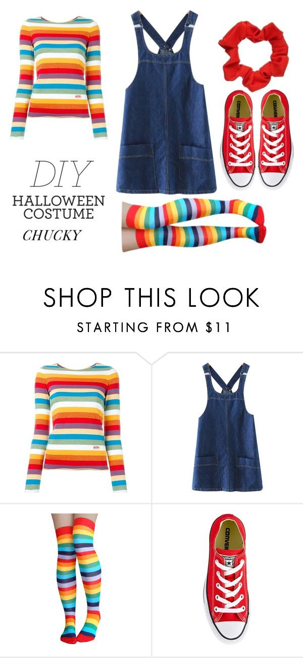 """DIY Chucky costume"" by as-pretty-as-the-moon ❤ liked on Polyvore featuring Chloé, Chicnova Fashion, Converse, halloweencostume and DIYHalloween"