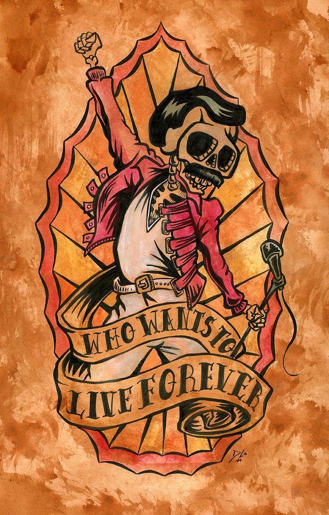 Day of the Dead Artist David Lozeau, Freddie Mercury of Guadalupe, Day of the Dead Art, David Lozeau Dia de los Muertos Art