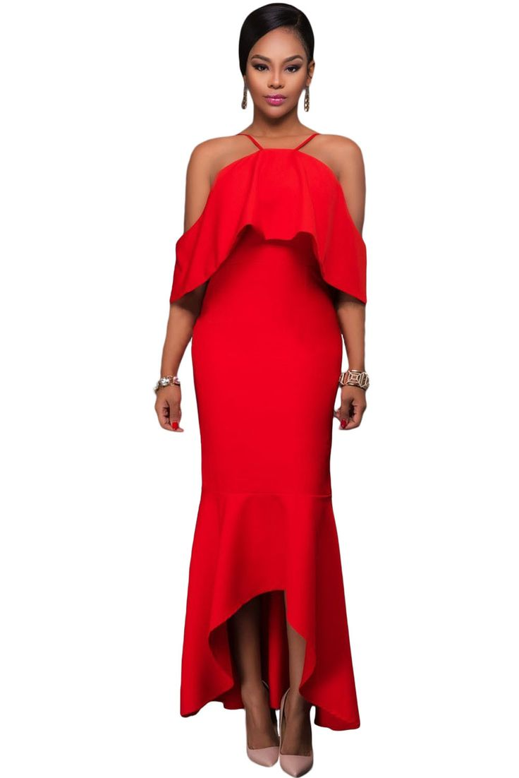 Her Stunning Black Ruffled Sleeves High-low Hem Party Maxi Dress