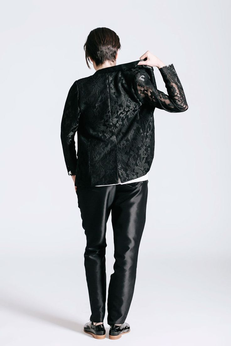 Androgyenous Style. Wedding outfit. Lace sleeve. Women's shirt. Same-sex wedding idea.