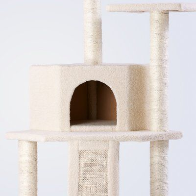 The Frisco 52-inch Cream Cat Tree is the ultimate all-in one spot for your kitty to do all the things she loves, from lounging to leaping to honing her expert hunting skills. Frisky cats can jump from perch to perch as they climb to the top of their lookout tower. A carefully placed dangling toy gives Kitty the thrill of the hunt as she bats it around till her heart's content. With five enticing scratching posts, several cats can claw at once, so it's great for multi-cat households. When…