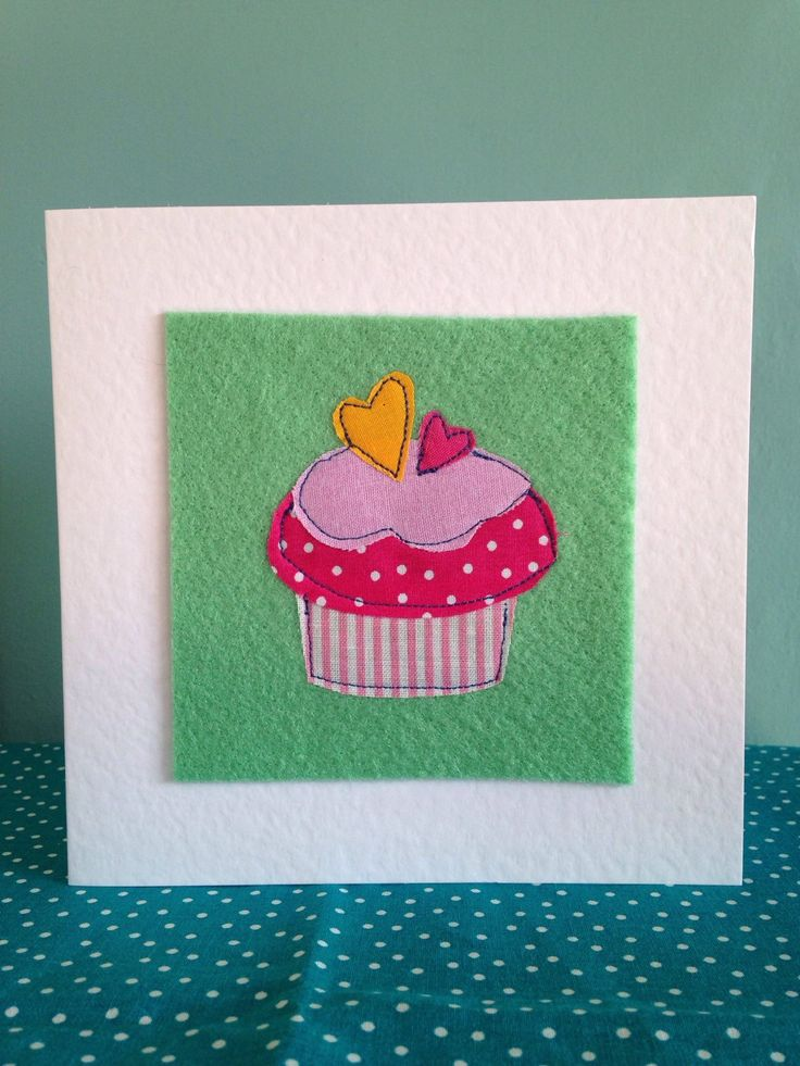 A personal favourite from my Etsy shop https://www.etsy.com/uk/listing/281573116/cupcake-card-cute-and-colourfulapplique
