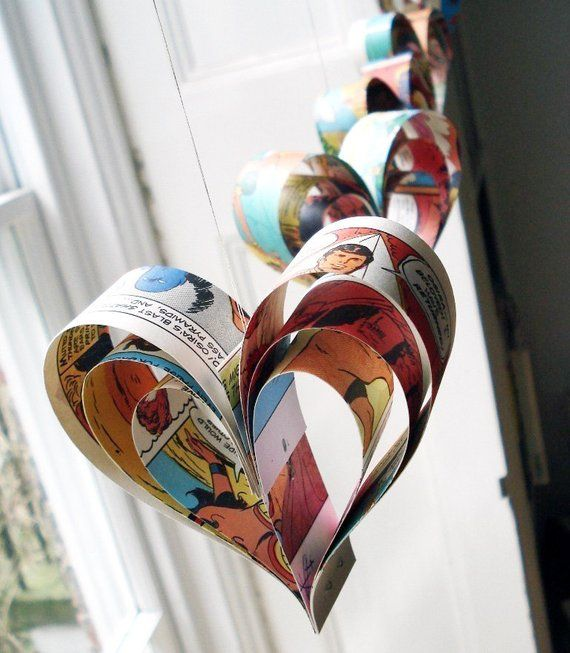 Paper hearts comic books party decorations upcycled geek, wedding decor