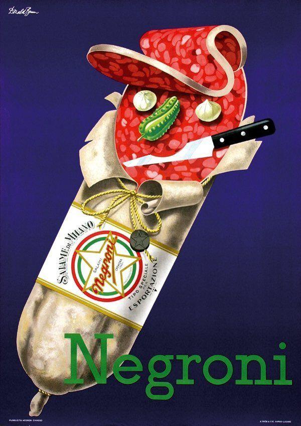 Negroni Salame di Milano poster by Donald Brun, 1960. #Cuisine @typechap via @wayneford