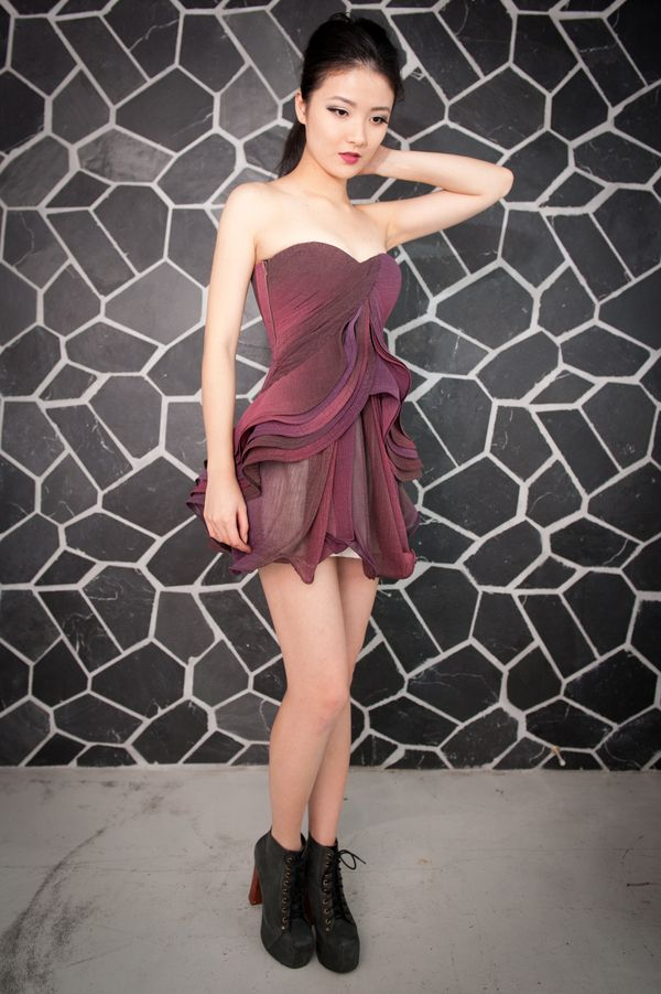 Image of Burgandy Short Evening Gown