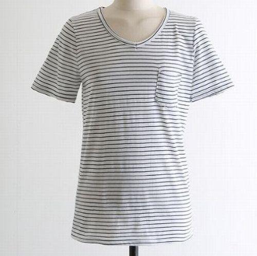 Amazon.co.jp: 胸ポケット付きボーダー半袖VネックTシャツ レディースファッション (ネイビー): 服&ファッション小物通販