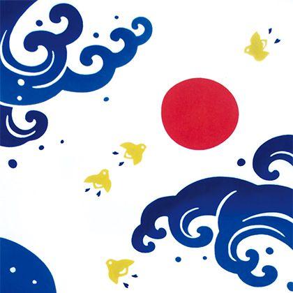Chidori / Tenugui(Japanese Towel) 気音間 注染手ぬぐい 波千鳥【メール便可】/手ぬぐい/てぬぐい/手拭い/千鳥/縁起物/夫婦円満/海/夏/和柄【10P09Jul16】 | ROOM - my favorites