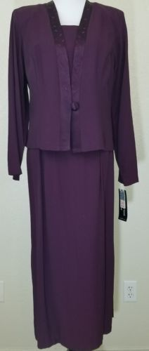 cimmaron womens dress with jacket top purple maxi modest long sleeve size 14
