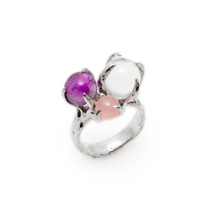 SPHERE RING SPUTNIK WITH CLEAR QUARTZ, AMETHYST AND ROSE QUARTZ #pulse_jewellery  #sterling #silver #925 #jewellery #jewelry #ring #rings #fluid #liquid #sphere #gemstone #clear #quartz #amethyst #rose #quartz