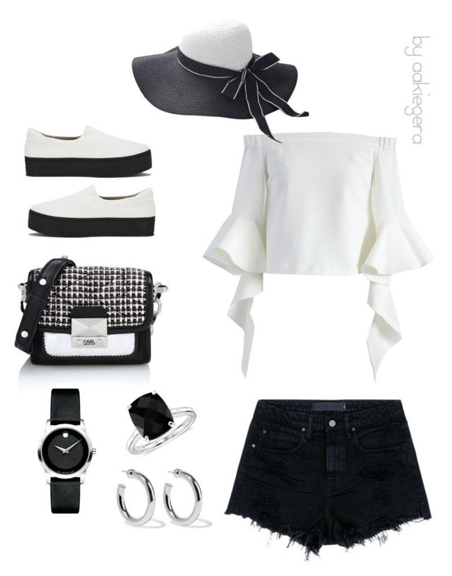 """""""Black & White"""" by aakiegera on Polyvore featuring мода, Opening Ceremony, Alexander Wang, Chicwish, Karl Lagerfeld, Blue Nile, Movado и Sophie Buhai"""