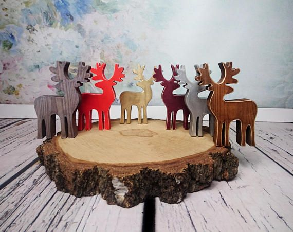 Wooden reindeer statue decor shabby chic brown silver gold