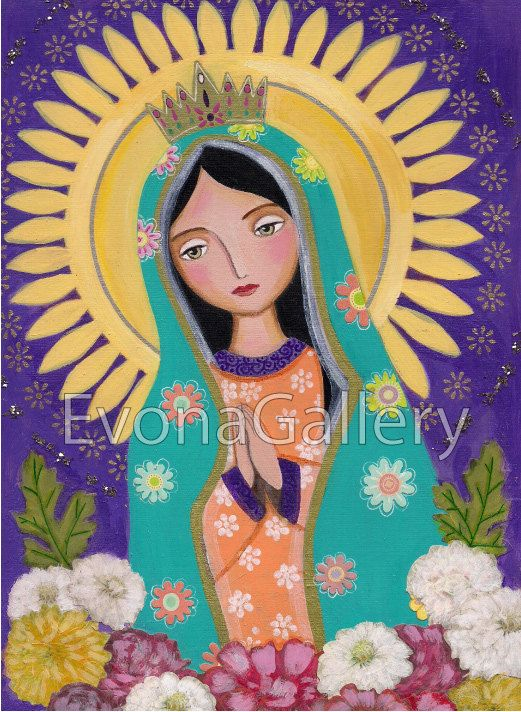 Our Lady Of Guadalupe Art on wood Mix Media 3.5 x by Evonagallery