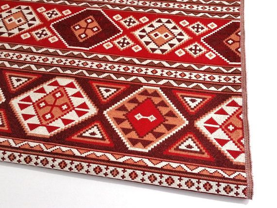 Ethnic Tribal Style Upholstery Fabric, Pillow Fabric, Aztec Navajo Fabric, Geometric Design Kilim Fabric, Claret Red-White, Ycp-003