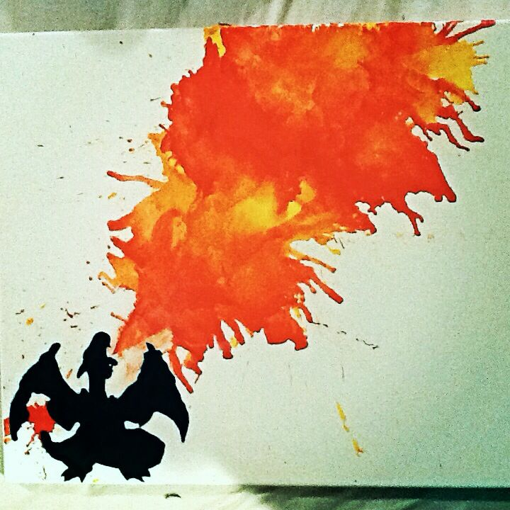 Pokemon charizard melted crayon art! First try turned out great.