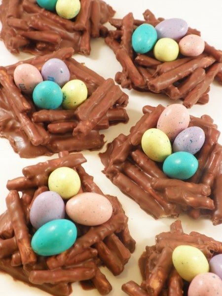 chocolate covered pretzel stick nests: Easter snack for preschool class?