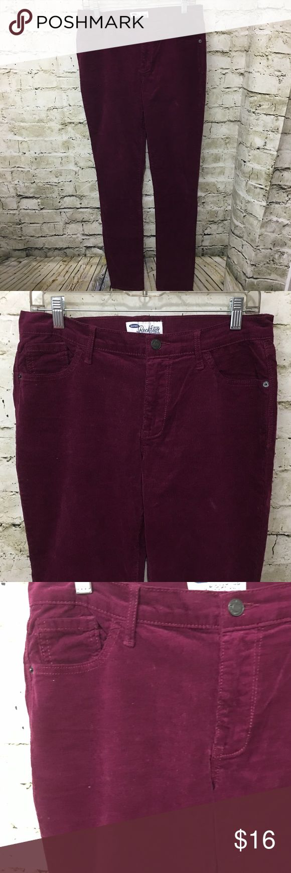 """Old Navy RockStar Purple Skinny Corduroy Pants Old Navy The Rockstar Women's Purple Corduroy Skinny Pants Size 10 Tall in gently used condition with no flaws.  Measurements: Waist: 16"""" Rise: 9"""" Inseam: 33"""" Old Navy Pants Skinny"""
