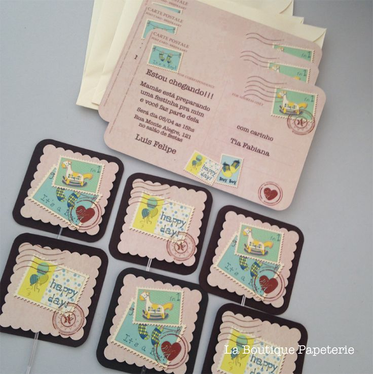Convite cartão postal menino