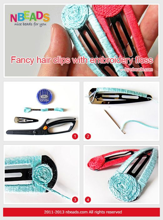 Summary: Fancy hair clips for you to glam up your hair and go with your outfits.It is worth for you spending time on DIY hair clip with embroidery floss; because you will be pround of what you achieve, and no more plain hair clips on your hair!. Just see