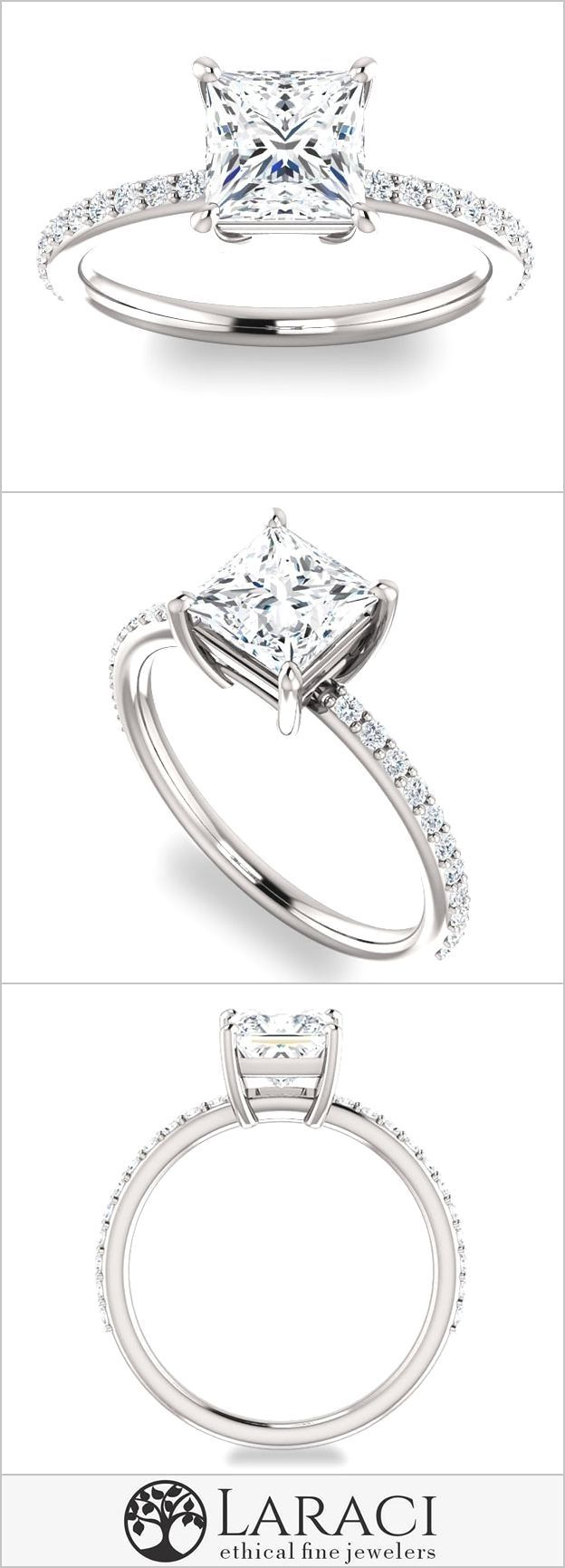 This Moissanite Solitaire Engagement Ring with Eternity Band is a top seller. This ring looks lovely on every hand no matter the size or shape and is purchased by all ages. This Engagement Ring is for sure a new classic and will adored for a lifetime. Paired with its matching wedding band this ring is sure to draw attention.