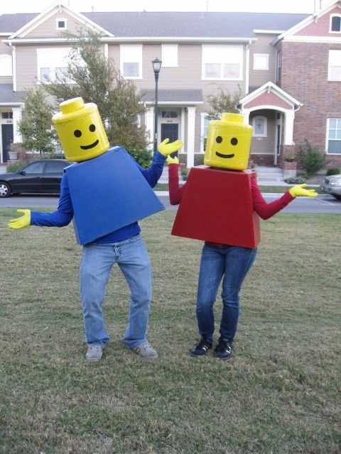 """lego man costume instructions - I love how people have pinned us, this is me and my hubs in those costumes; it is flattering to see others """"pin""""us"""