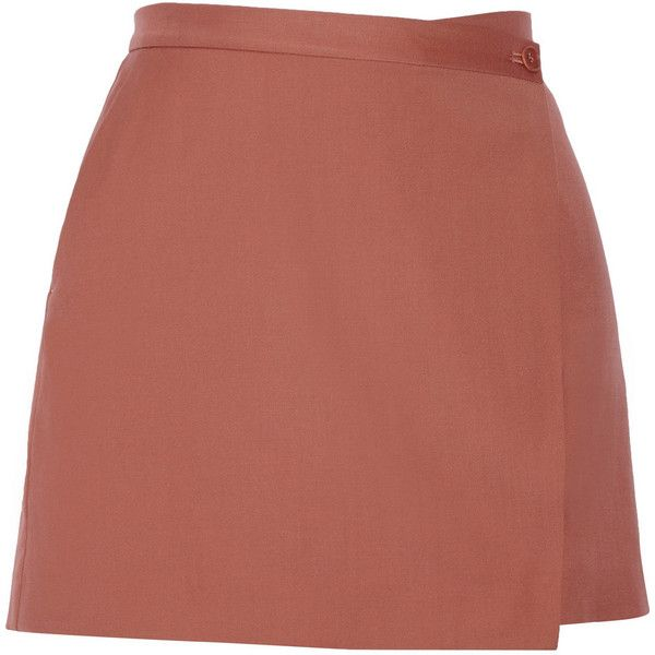 Theory - Kirti Wool-twill Wrap Mini Skirt (€110) ❤ liked on Polyvore featuring skirts, mini skirts, bottoms, saias, faldas, antique rose, rose skirt, wrap skirts, short wrap skirt and short red skirt