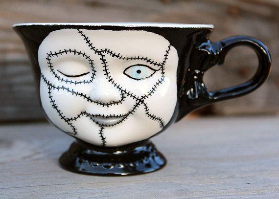 Hand Painted, Ceramic 3 inch Creepy Teacup
