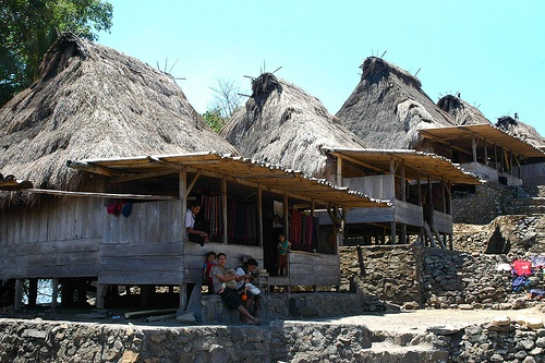 Ngadha Traditional Houses in Bena - Komodo, Indonesia. Traditional houses of Ngadha ethnic in Bena village, South of Bajawa - Central Flores, Indonesia.