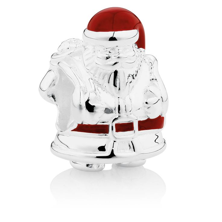 Celebrate the festive season with this whimsical sterling silver Santa charm. The highly detailed design is accented with red enamel to add character to the look, and will make a delightful addition to your collection all year 'round. Exclusive to Emma & Roe.