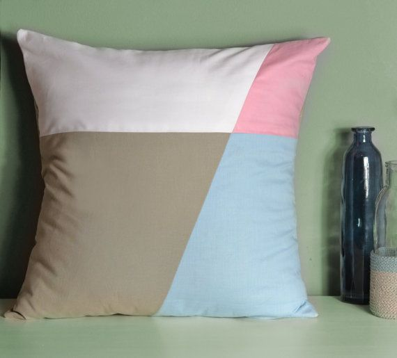 Handmade pastel blush colors pillow. This design is made from a medium weight cotton fabric, and is designed to fit nicely onto a 45 x 45cm