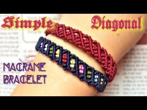 Macrame tutorial Diagonal loop bracelet - The most easy and simple guide - YouTube