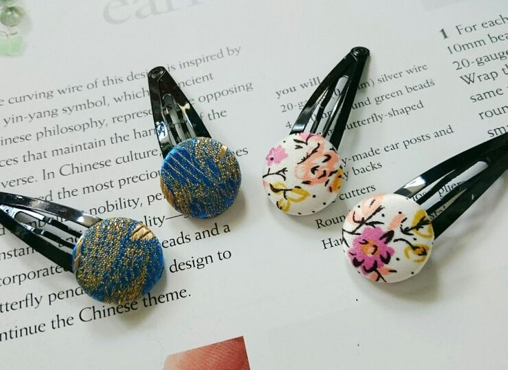 Fabric covered button hair clips