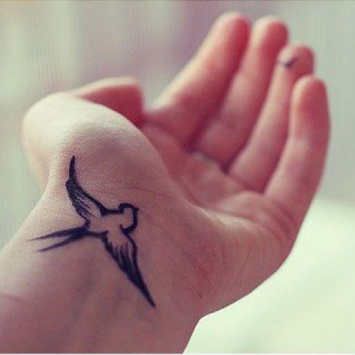 bird wrist tattoo design for women