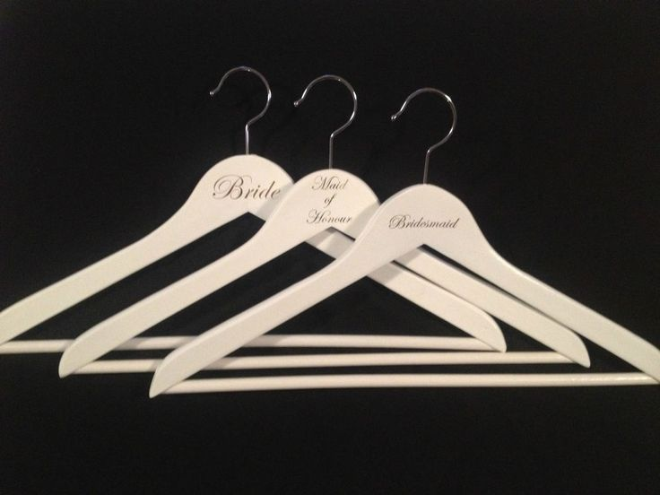 White Bridal Party Coat Hangers Maid of Honour Bridesmaid Engraved