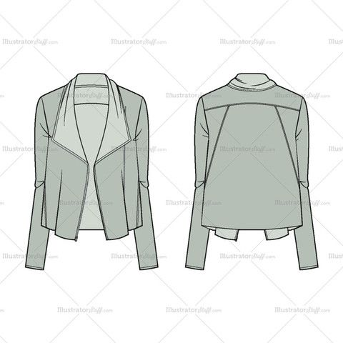 Women's Asymmetric Zip Jacket Fashion Flat Template