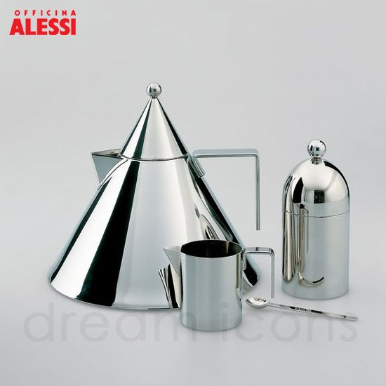 Alessi 90017 : Il Conico Hob Kettle | Alessi 90024 : Sugar Bowl and Spoon | Aldo Rossi