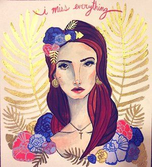 Portrait of the Queen of sadness & nostalgia, Lana Del Rey. Here in her paradise with flowers in her hair.