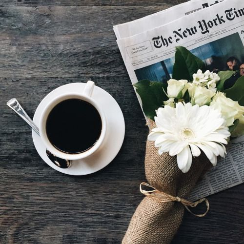 Ooh! Looks like her husband brought her some flowers along with that morning coffee, oh, wait, maybe she brought him some. HOW SWEET!. #coffee #flowers #newspaper www.vainpursuits.com