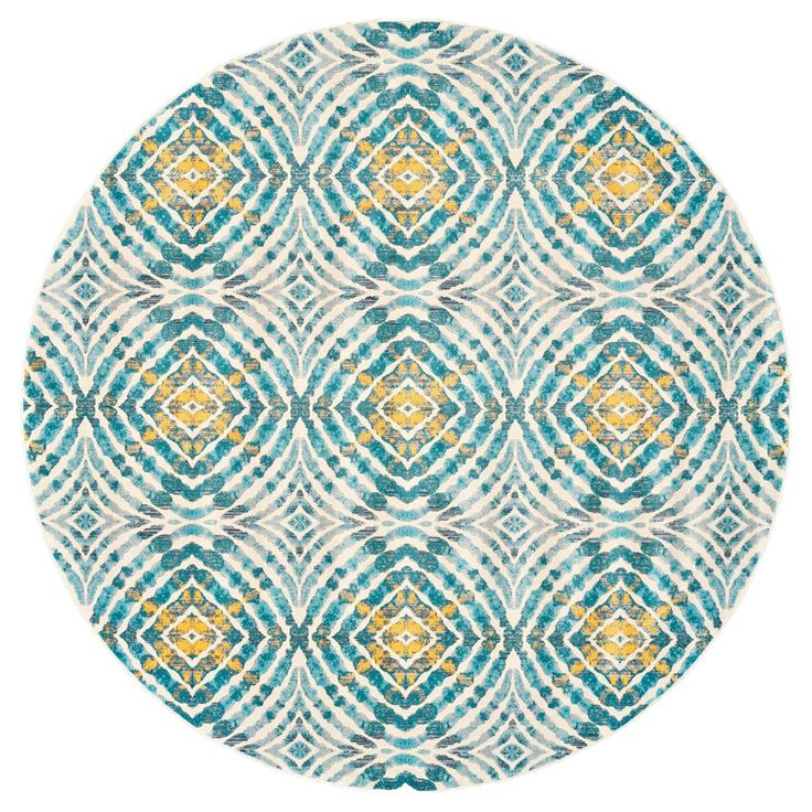 """Set the stage for comfort with the john f. by Feizy 3469F Keats Soft Power Loomed Round Rug. This machine loomed area rug is 165""""L x 122""""W. The modern circles and diamonds design and multi-colors make this rug on-trend and versatile. Rugs pull a room's décor together while creating a warm place on hard floors. This indoor rug has a latex backing."""