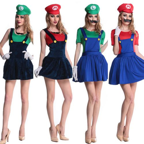 Womens-Halloween-Super-Mario-e-Luigi-operarios-casais-Costume-Fancy-Dress